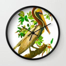 Brown Pelican Vintage Illustration Wall Clock