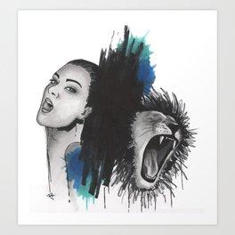 Girl and Lion Art Print