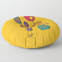 Feather Flower Chime in Color Floor Pillow