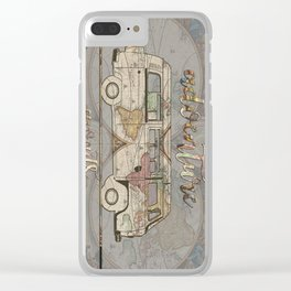 adventure awaits world map design 1 Clear iPhone Case