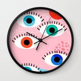 Noob - eyes memphis retro throwback 1980s 80s style neon art print pop art retro vintage minimal Wall Clock