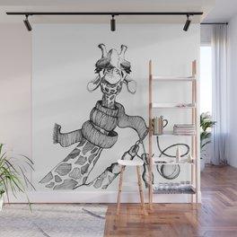Knitting Giraffe Wall Mural