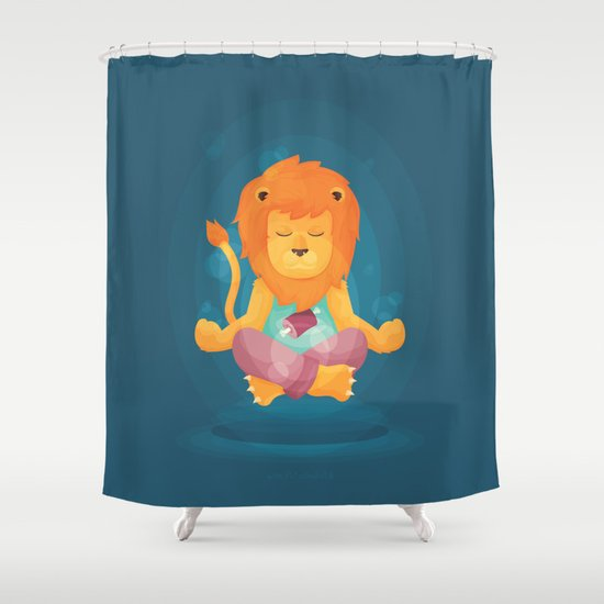 Dralion, the Aum Lion Shower Curtain