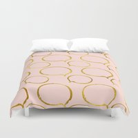 gold foil Duvet Covers featuring Pink Gold Foil 01 by Aloke Design