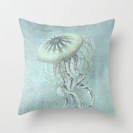 Jellyfish Underwater Aqua Turquoise Art Throw Pillow
