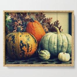 Autumn Pumpkin Gourd Still Life Serving Tray