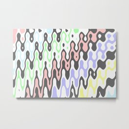 Asymmetry collection: pastel yellow green blue pink waves Metal Print