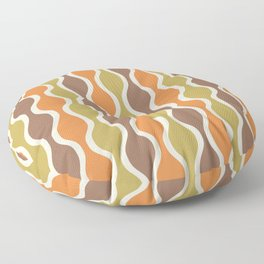 Classic Retro Ogee Pattern 846 Orange Brown and Olive Floor Pillow
