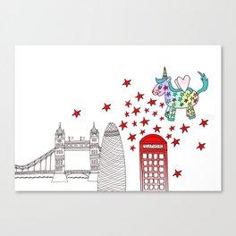 London Rainbow the Unicorn Canvas Print