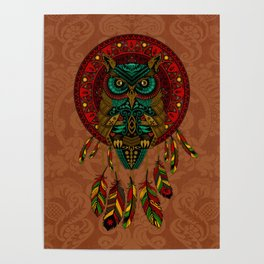 Colorful Dreamcatcher Owl Aztec Pattern Poster