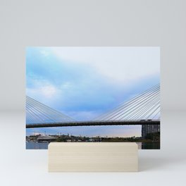 Anzac Bridge with Eights rowing below Mini Art Print