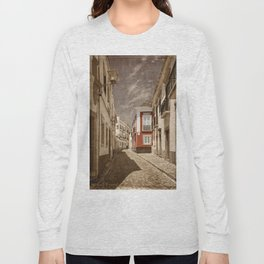 Sepia treatment of a cobbled street, Portugal Long Sleeve T-shirt