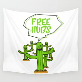 Cactus cacti free hug plant face smile saying funny gift Wall Tapestry