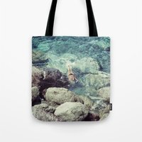 swimming Tote Bags featuring SWIMMING by Marte Stromme