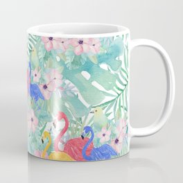 Tropical pink green watercolor floral colorful flamingo bird Coffee Mug