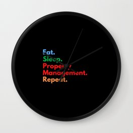 Eat. Sleep. Property Management. Repeat. Wall Clock