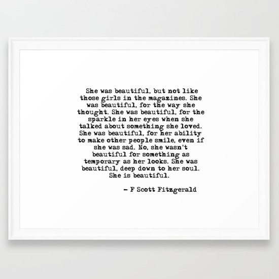 She Was Beautiful Fitzgerald Quote Framed Art Print By Quoteme