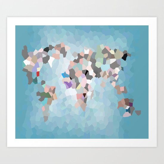 Travel Map Geometric Abstract of the World Art Print