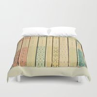 pastel Duvet Covers featuring Old Books by Cassia Beck