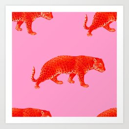 Vintage Cheetahs in Coral + Red Art Print