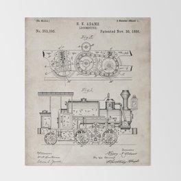 Steam Train Patent - Steam Locomotive Art - Antique Throw Blanket