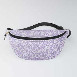 Lavender Mandala on White Marble Fanny Pack
