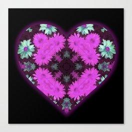 Mandala Flower Love Heart Canvas Print