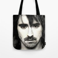 lee pace Tote Bags featuring Pace Lee in watercolors by Fatima Alshaali