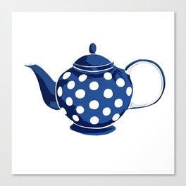 Blue Polka-Dot Teapot Canvas Print