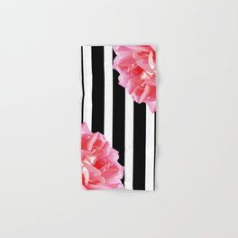 Pink roses on black and white stripes Hand & Bath Towel