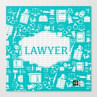 lawyer Canvas Prints featuring Turquoise Lawyer   by Be Raza