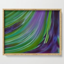 Purple Green Contemporary Abstract Serving Tray