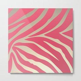 Pink Zebra Stripes Beige Background Metal Print