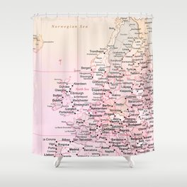 Rose Word Map Europe Shower Curtain