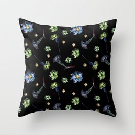 Carnations, Soft Grunge, Black, Blue, Real Flowers Pattern Throw Pillow