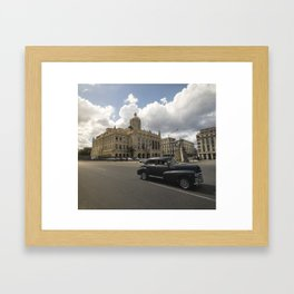 Black american car passing in front of the Revolution Museum, La Havana, Cuba. Framed Art Print