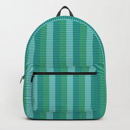 Tanager Turquoise, Teal Blue and Kelly Green Repeat Striped Pattern Backpack
