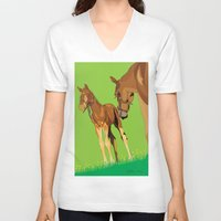 horses V-neck T-shirts featuring Horses by Anderssen Creative Imaging