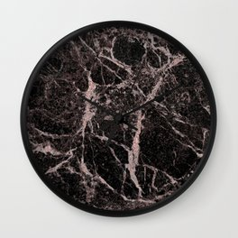 Rose Gold Pink & Black Marble Wall Clock