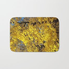 Golden fall maple trees and leaves Bath Mat