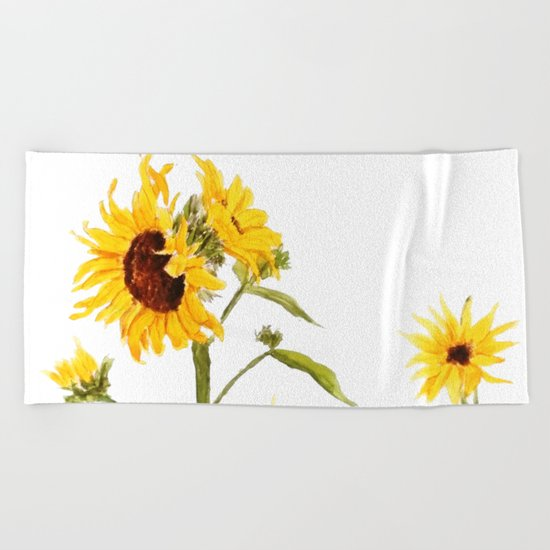 One sunflower watercolor arts Beach Towel