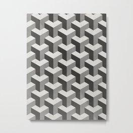 Interlocking Cubes Pattern - Black, White, Grey Metal Print