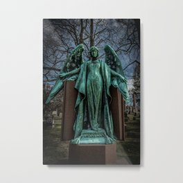 Angel Monument Watches Over Albany Rural Cemetery New York Metal Print