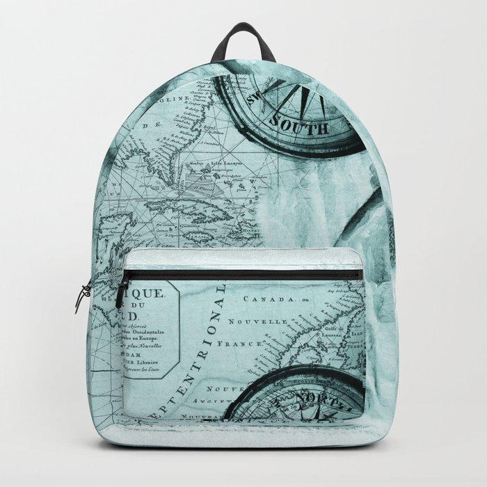 69e01a7147 Great White Shark Compass Map Green Backpack by eveystudios