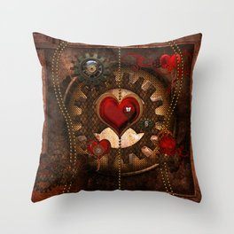 Steampunk, awesome steampunk heart Throw Pillow
