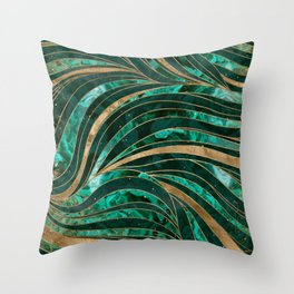 Malachite Wavy Pattern Throw Pillow