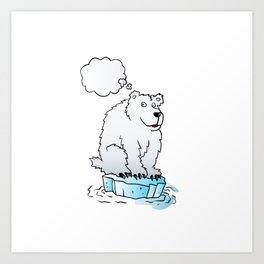 Polar bear on an ice floe Art Print
