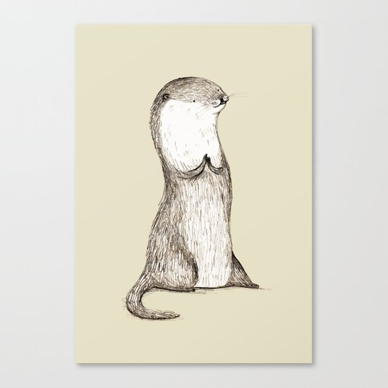 Sitting Otter Canvas Print