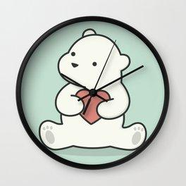 Kawaii Cute Polar Bear With Heart Wall Clock