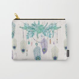 Peacock And Eucalyptus Crystal Spirit Gazer Carry-All Pouch